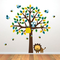 Tree With Birds, Bees and Lion Wall Sticker