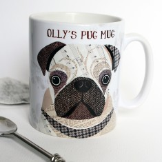 Pug dog personalised mug