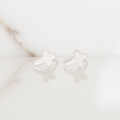 Cross studs sterling silver