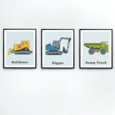 Construction truck wall art (set of 3)