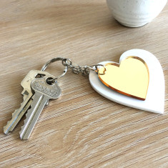 Heart Keyring Combo - White and Gold Mirror