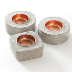 Concrete & copper tea light holders (set of 3)