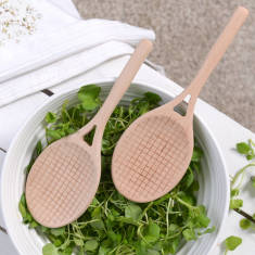 Wooden Tennis Racket Style Salad Servers