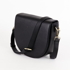 Ava Crossbody Bag with Built-in Phone Charger - Black Grain Leather