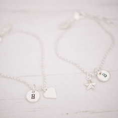 Personalised silver plated heart or star bracelet