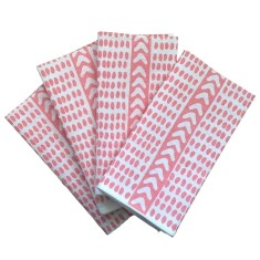 Blush pink Tribal dash linen napkins (set of 4)