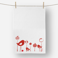 Bird and Apples Tea towel Red or Black