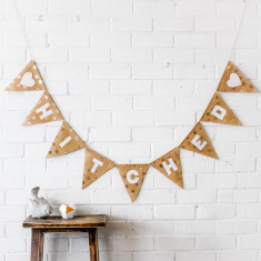 Hitched Gold Spot Hessian Wedding Bunting