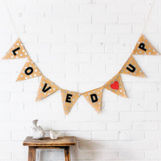 Loved up hessian wedding bunting