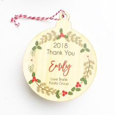 Personalised thank you teacher bamboo Christmas ornament for teachers