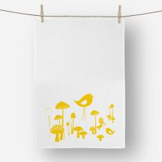 Mushrooms Tea towel Yellow