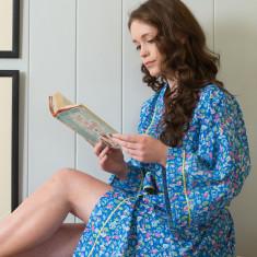 Cotton wrap-over kimono in cobalt Isabel print