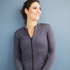 Womens Long sleeved swimming top (rashie) in dark grey