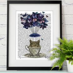 Owl in teacup book print