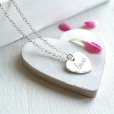 Personalised Sterling Silver Little 'Love' Heart Pendant Necklace