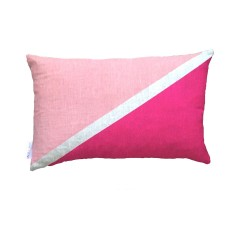 Flag colourblock cushion in blush and magenta
