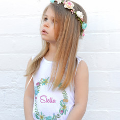 Personalised floral wreath Singlet