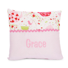 Personalised name cushion in Strawberry Tea Party