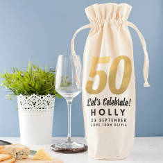 Personalised Golden Milestone Birthday Wine Bag