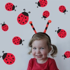 Lady beetles wall decal