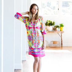 Summer digital print dress in fuchsia