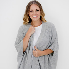 Grey knit poncho wrap