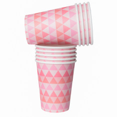 Pink geo paper cups (2 packs)