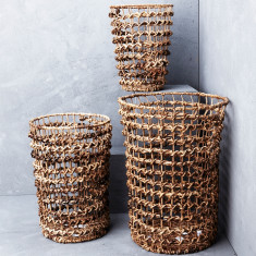 Twisted banana leaf with iron open weave basket