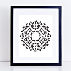 Puppy mandala pug dog art print