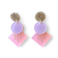 Deco drop earrings - Frosted pink, lilac and gold glitter