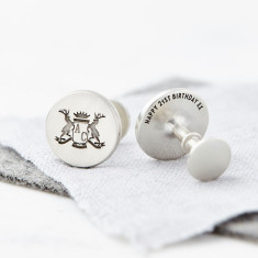 Personalised Solid Silver Stag Crest Cufflinks