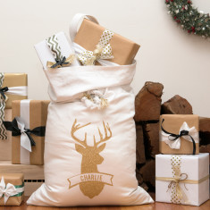 Gold glitter deer personalised Santa sack