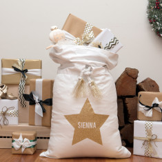 Personalised gold star Santa sack