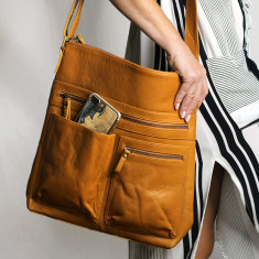 Susie Leather Handbag With Adjustable Strap (Tan)