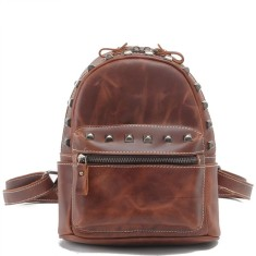 Leather casual rivet backpack in brown (mini)
