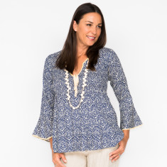 Rosie top in filigree navy