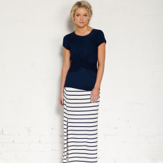 Lorne skirt in cream/indigo