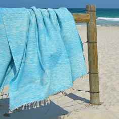 Two tone Egyptian cotton throw in aqua