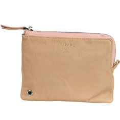 Apricot Pink leather zip pouch