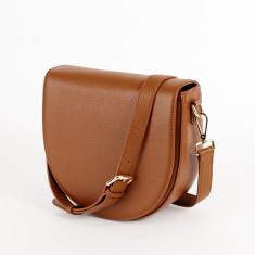 Ava Crossbody Bag with Built-in Phone Charger - Tan Grain Leather