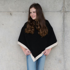 Little chicks poncho in black with cream trim