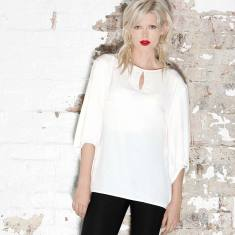 Bell sleeve keyhole neck loose-fit blouse in white