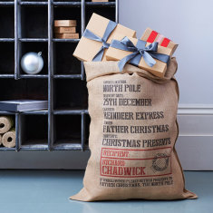 Personalised Sandhurst hessian Christmas sack