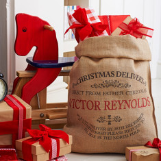 Personalised Ampleforth hessian Christmas sack