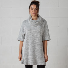 Cowl neck knit dress