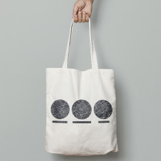 Personalised trio of locations tote bag