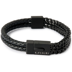 Armour Double Leather & Steel Bracelet - Matt Black Clasp