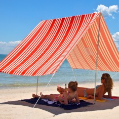 Sombrilla beach shelter in French stripe red