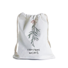 Christmas mistletoe canvas gift bag