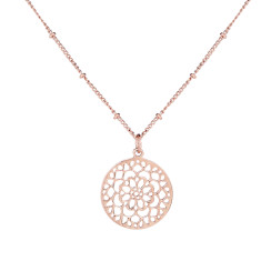 Mandala Pendant Necklace In Rose Gold